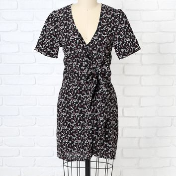 Black Ditsy Floral Tie-Front Dress | NRFB