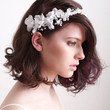 Bridal Silk Flowers And Pearls Halo