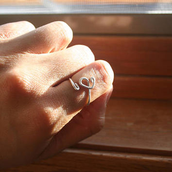 Heart Loops Ring Silver Plated Tarnish Proof Ring, Silver Ring, Wire Ring, Silver Wire Ring, Heart Ring