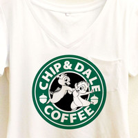 Chip And Dale Coffee Shirt | Mickey and Friends Starbucks  | Disney