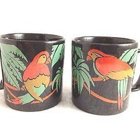 Vintage Pair Parrot Coffee Mugs  England