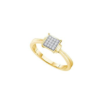 Yellow-tone Sterling Silver Womens Round Diamond Simple Square Cluster Ring 1/20 Cttw