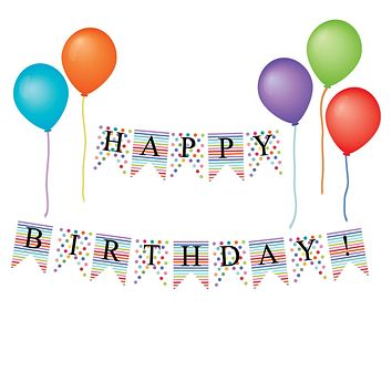 Happy Birthday Bunting Flags and Balloon Wall Decals, Eco-Friendly Repositionable Wall Stickers