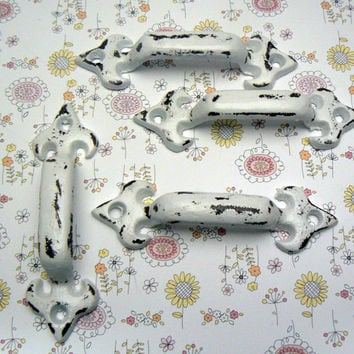 Cabinet Drawer Handle Pull Set of 4 Individual Small Cast Iron Pulls Classic White Fleur de lis FDL Paris Shabby Chic Do It Yourself DIY