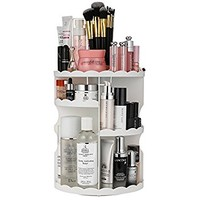 Jerrybox 360 Degree Rotation Makeup Organizer Adjustable Multi-Function Cosmetic Storage Box, Large Capacity, 7 Layers, Fits Toner, Creams, Makeup Brushes, Lipsticks and More, White