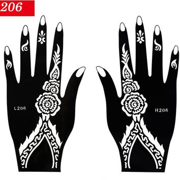 1 Pair Black Color Hands Henna Stencils 2017 New 10 Pattern Body Art Paint Hollow Tattoos Sticker use with Henna Paste CH427