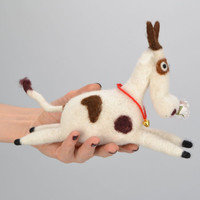 Desktop wool toy Cow handmade wool felting technique decorative elements