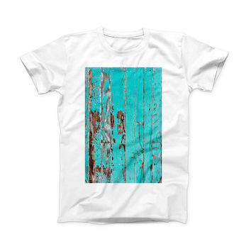 The Turquoise Chipped Paint on Wood ink-Fuzed Front Spot Graphic Unisex Soft-Fitted Tee Shirt
