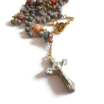 Cement rosary,cement necklace, concrete necklace, rosary necklace, cement cross, glass bead necklace, religious jewelry, catholic, crucifix