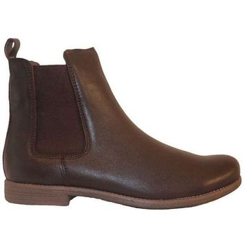 CREYONIG Chelsea Crew Jonas - Brown Leather Dual Gore Pull-On Flat Bootie