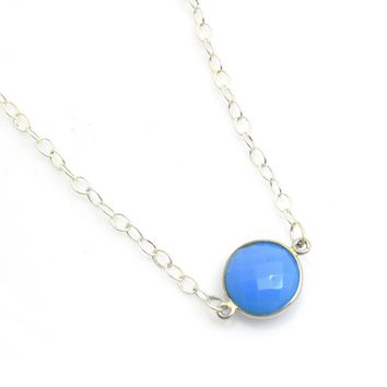 Bezeled Faceted Sterling Silver Gemstone Necklace