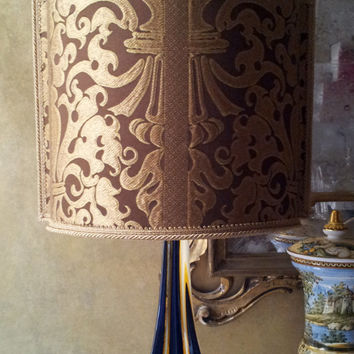 Vintage Amber Murano Glass Table Lamp with Rubelli Silk Lampas Fabric Lamp Shade - Made in Venice