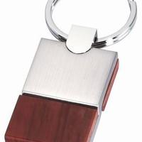 Free Engraving Personalized Wood with Silver Keychain