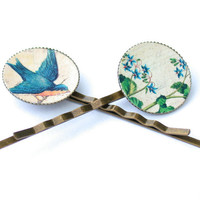 Fairy tale style bird and flowers hair pin pair by HairLovelies