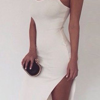 White Sleeveless Spaghetti Strap High Slit Dress