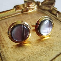 Mother of Pearl 60s Cuff Links Sola Dark Gray Stripe Gold Tone Mens Vintage 1960s Mens Accessories