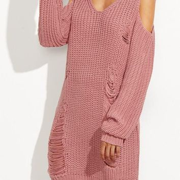 Pink Plain Cut Out Off-shoulder V-neck Long Sleeve Casual Pullover Sweater