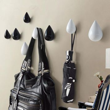 3D Creative Wall Hooks Decorative Wall Hook Resin Water Drops Coat Hooks Versatile Wall Hooks