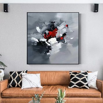 Abstract Gray red Acrylic original pictures on canvas extra Large abstract Painting on Wall Art Pictures for living rooms cuadro quadros