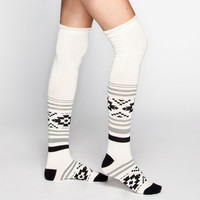 Full Tilt Ethnic Pattern Scrunch Top Womens Knee High Socks Beige One Size For Women 24256242601