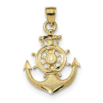 14k Satin Diamond-cut Anchor Pendant K6092