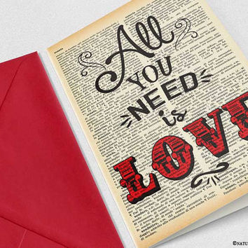 All you need is love Card-love card-anniversary card-engagement card-funny card-valentine card-custom card-save date-by NATURA PICTA-NPGC112