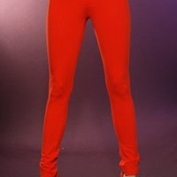 RED ORANGE STRETCH FIT ELASTIC WAISTBAND SEXY SKINNY PANTS @ Amiclubwear Pants Online Store: sexy pants,sexy club wear,women's leather pants, hot pants,tight pants,sweat pants,white pants,black pants,baggy pants,smarty pants,plastic pants,women's jeans,pl