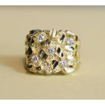 Solid 10K/14K Yellow Gold Diamond Cut with CZ Nugget Ring