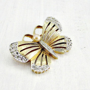 Vintage Designer PANETTA Brooch, Gold Butterfly Brooch Pin, Rhinestone Butterfly Brooch, Bug Insect Brooch, 1970s Jewelry, Gift for Her Mom