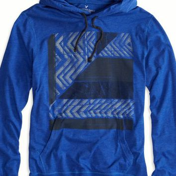 AEO Men's Graphic Hoodie T-shirt (Dream Blue)