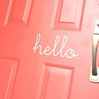Hello Vinyl Front Door Sign-hello Door Decal - Front Door Decal-vinyl Wall Decal Art W12""