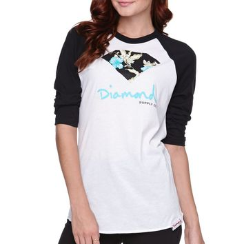 Diamond Supply Co Diamond Floral Raglan T-Shirt - Womens Tee - White - Extra Large