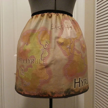 Legend of Zelda inspired skirt - map of Hyrule - made to order