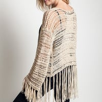 Fringe Knit Sweater - Tan