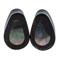"9/16"" (14mm) Dark Raintree And MOP Inlay Teardrops Plugs #7612"