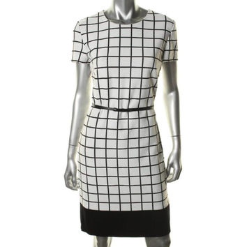 BOSS Hugo Boss Womens Heldina Window Pane Short Sleeves Wear to Work Dress