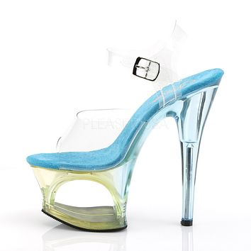 """Moon 708MCT Blue Ombre Tinted Cutout Clear Platform 7"""" High Heel Shoe"""