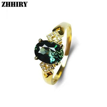 Genuine 18K Yellow Gold Natural Sapphire Women's Ring