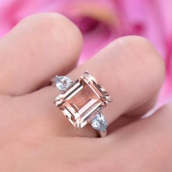 Emerald Cut Morganite Engagement Ring Pear Aquamarine Wedding 14K White Gold 10x12mm