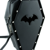 Black Bat Coffin Bag Gothic Purse Backpack w/ Velvet Trim