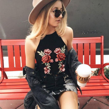 Camisole Vintage Floral Embroidery Shirt