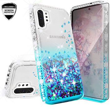 Samsung Galaxy Note 10+ Case,Galaxy Note 10 Plus Case Liquid Glitter Phone Case Waterfall Floating Quicksand Bling Sparkle Cute Protective Girls Women Cover for Galaxy Note 10 Plus W/Temper Glass - Teal