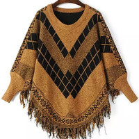 Yellow Black Long Sleeve Fringed Sweater
