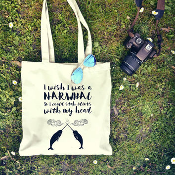 I Wish I Was a Narwhal Funny Shopper Tote Bag  | Market Bag | Shopper Bag | Beach Bag | Travel Bag | Funny Bag | Shoulder Bag