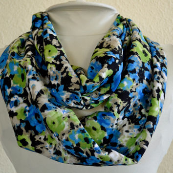Spring Infinity Scarf, Cowl Scarf, Light and Silky, Ready to Ship