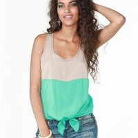 A'GACI Colorblock Tie Front Tank - New Arrivals