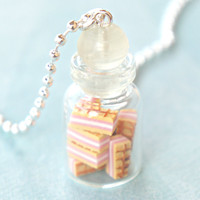 strawberry wafers in a jar necklace