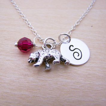 Bear Charm Swarovski Birthstone Initial Personalized Sterling Silver Necklace / Gift for Her - Bear Necklace