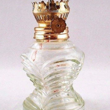 Miniature Clear Glass Vintage Oil Lamp Table Top Missing Chimney 5""