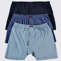 Plain Boxer Shorts 3 Pack - Navy/Blue/Light Blue